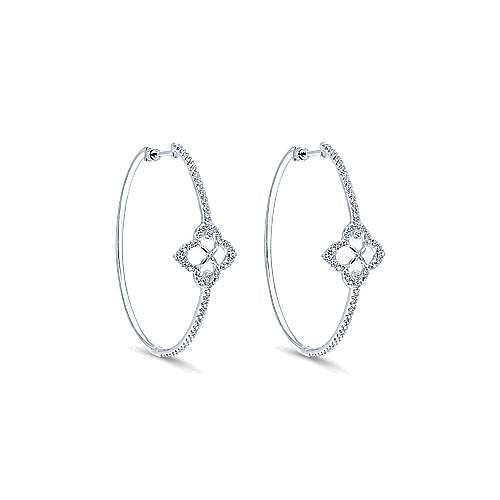 14k White Gold Victorian Intricate Hoop Earrings angle 1