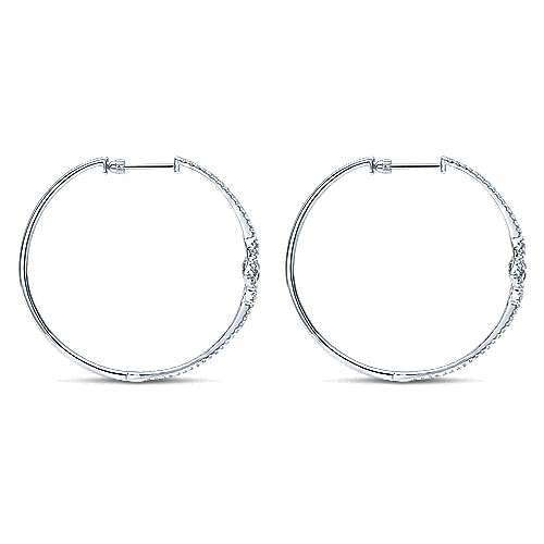 14k White Gold Victorian Intricate Hoop Earrings angle 2
