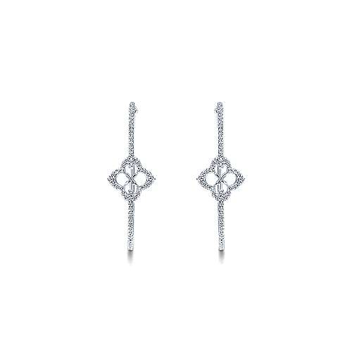 14k White Gold Victorian Intricate Hoop Earrings angle 3