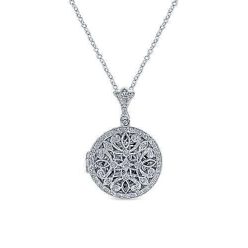 14k White Gold Victorian Locket Necklace