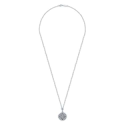 14k White Gold Victorian Locket Necklace angle 2