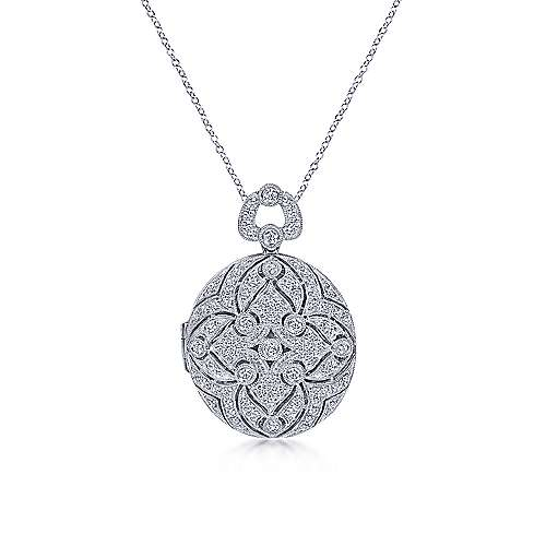 14k White Gold Victorian Locket Necklace angle 1