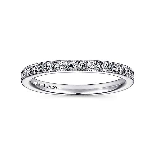 14k White Gold Victorian Straight Anniversary Band angle 4