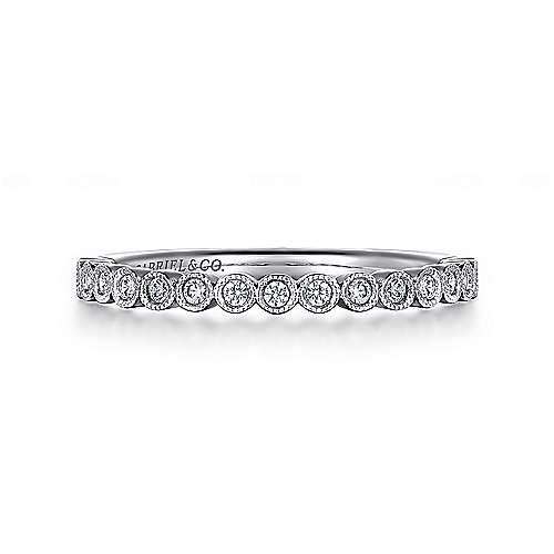 14k White Gold Victorian Straight Anniversary Band angle 1