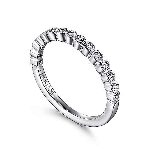 14k White Gold Victorian Straight Anniversary Band angle 3