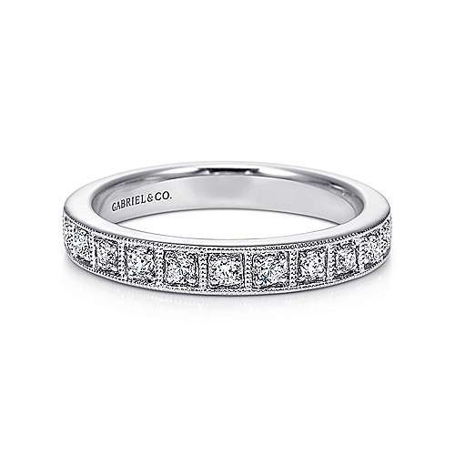 14k White Gold Victorian Straight Anniversary Band