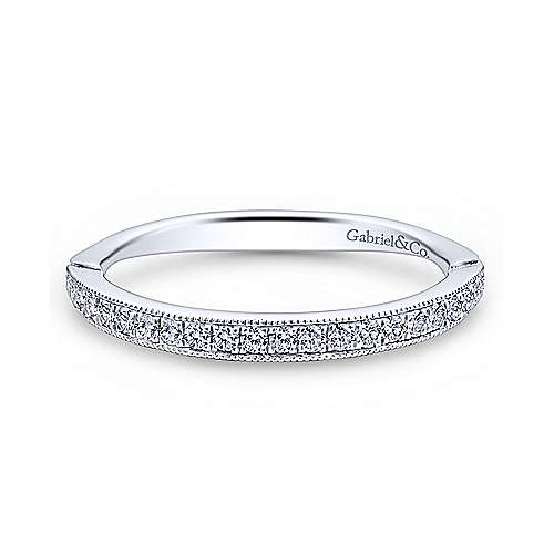 14k White Gold Victorian Straight Wedding Band angle 1