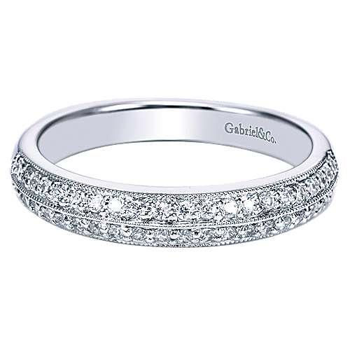 Gabriel - 14k White Gold Victorian Straight Wedding Band