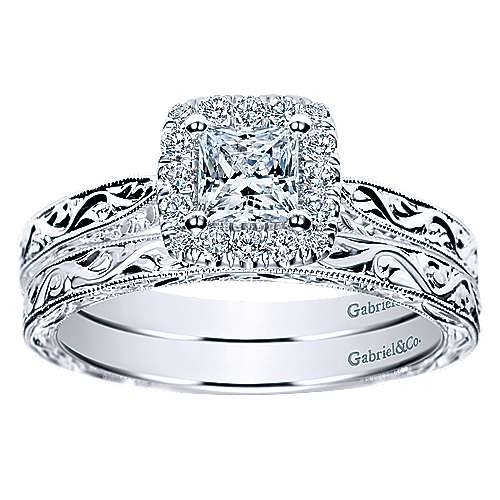 14k White Gold Victorian Straight Wedding Band angle 4