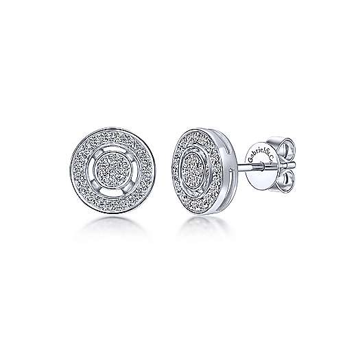 14k White Gold Victorian Stud Earrings angle 1