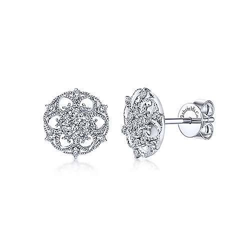 14k White Gold Victorian Stud Earrings angle 1