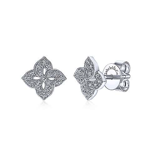 Gabriel - 14k White Gold Victorian Stud Earrings