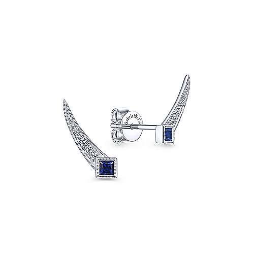 14k White Gold Victorian Stud Earrings