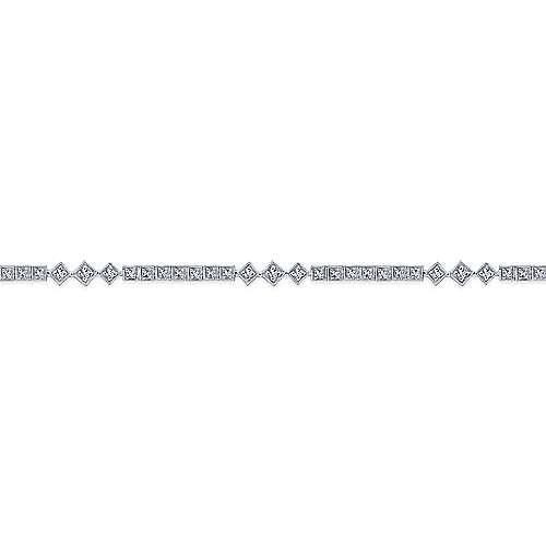 14k White Gold Victorian Tennis Bracelet angle 2