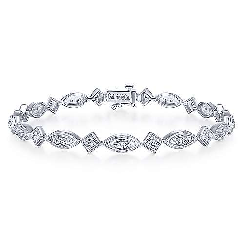 14k White Gold Victorian Tennis Bracelet