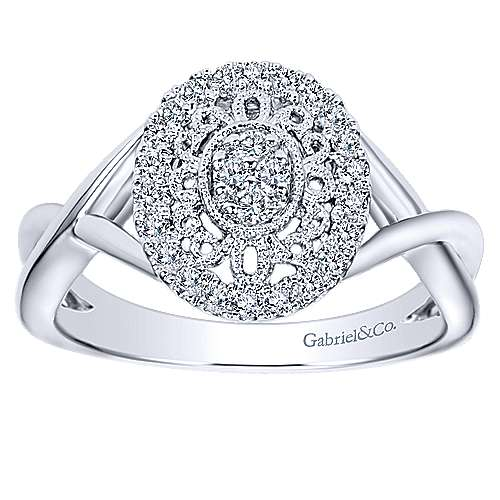 14k White Gold Victorian Twisted Ladies' Ring angle 4