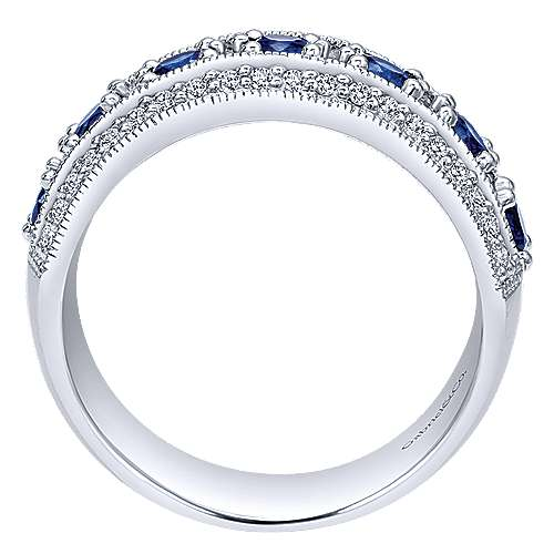 14k White Gold Victorian Wide Band Ladies