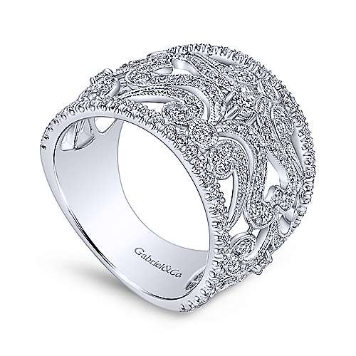 14k White Gold Victorian Wide Band Ladies' Ring angle 3