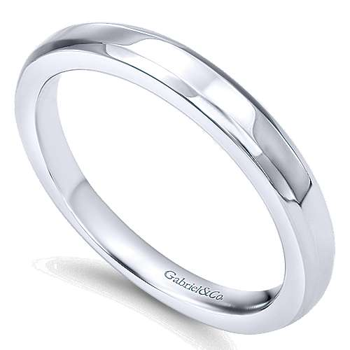 14k White Gold Wedding Band angle 3