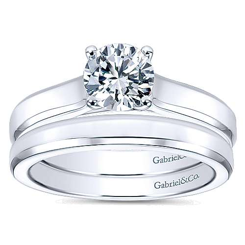 14k White Gold Wedding Band angle 4