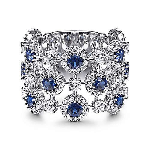 14k White Gold Wide Band Sapphire & Diamond Ladies Ring