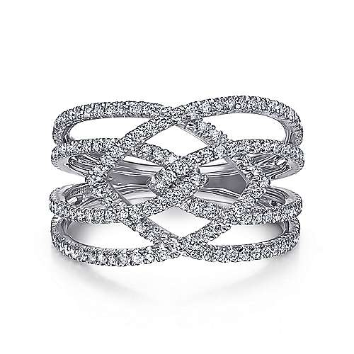 14k White Gold Wide Four Band Ladies Ring