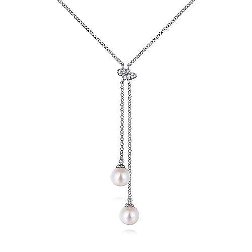14k White Gold Y Knots Lariat Necklace angle 1