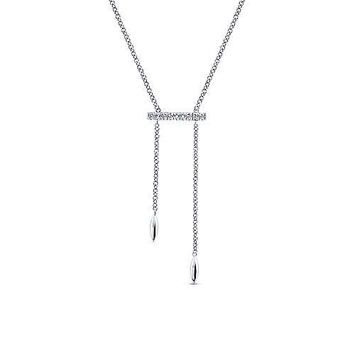 Gabriel - 14k White Gold Y Knots Necklace