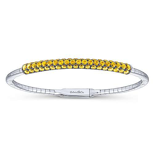 14k White Gold Yellow Sapphire Bangle angle 1