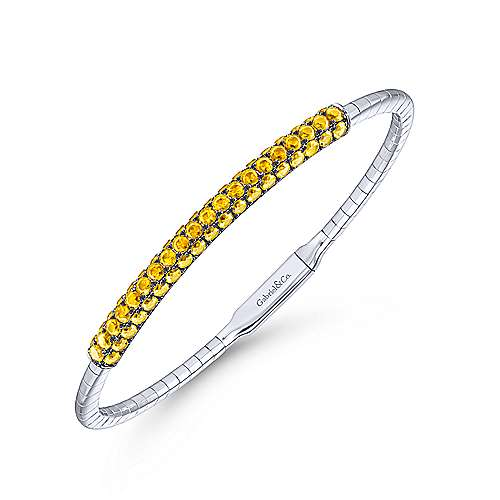 14k White Gold Yellow Sapphire Bangle angle 2