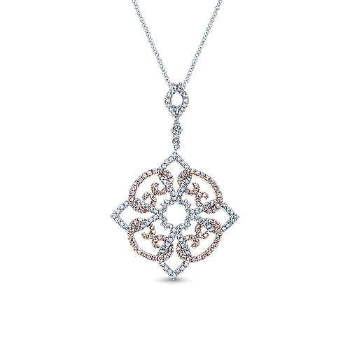 14k White and Pink Gold Diamond Pave Pendant Fashion