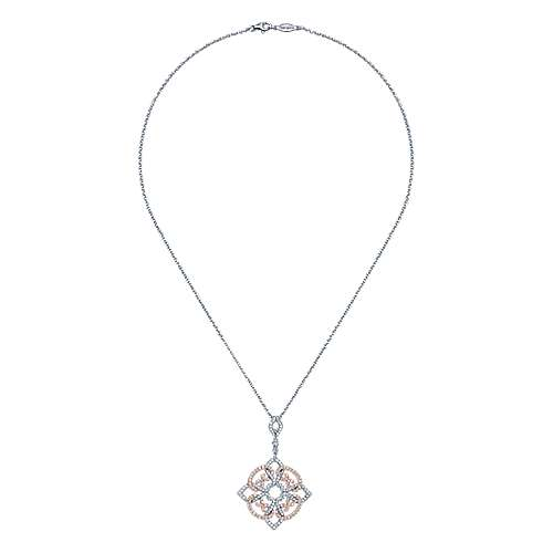 14k White and Pink Gold Diamond Pave Pendant Fashion Necklace angle 2