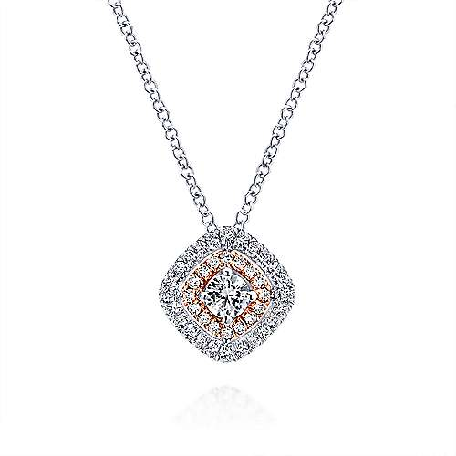14k White and Pink Gold Double Pave Diamond Pendant