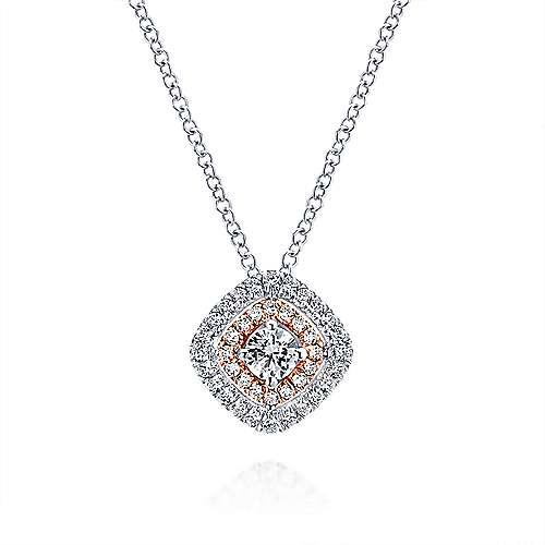 Gabriel - 14k White/pink Gold Clustered Diamonds Fashion Necklace