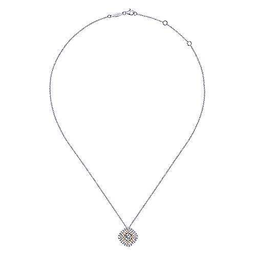 14k White and Pink Gold Double Pave Diamond Pendant Necklace angle 2