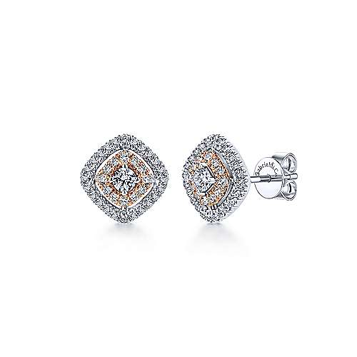 14k White and Pink Gold Double Pave Diamond Stud
