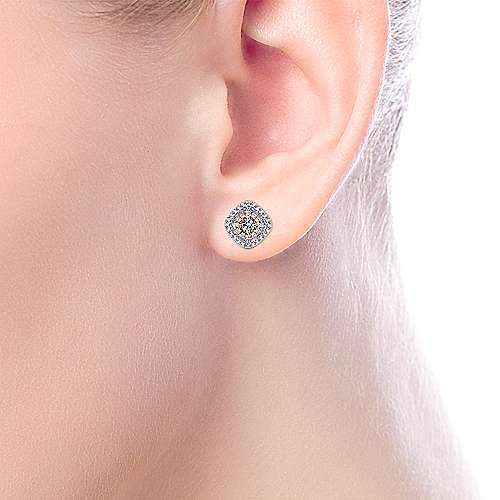 14k White and Pink Gold Double Pave Diamond Stud Earrings angle 2