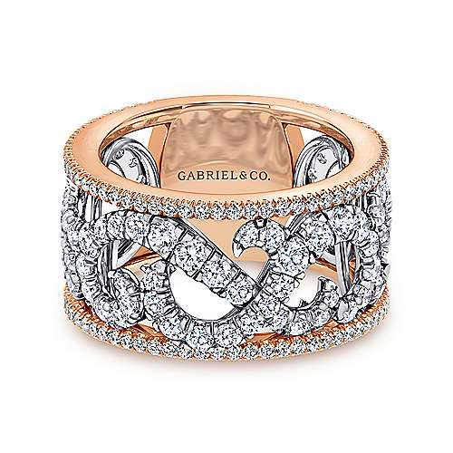 Gabriel - 14k White and Rose Gold French Pavé Set Fancy Anniversary Band