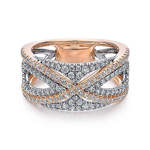 14k White and Rose Gold French Pavé Set Fancy Anniversary Band