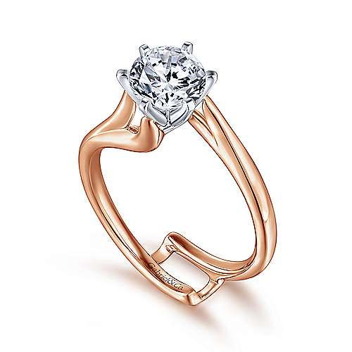 14k White/pink Gold Bypass Engagement Ring angle 3