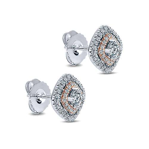 14k White/pink Gold Clustered Diamonds Stud Earrings angle 2