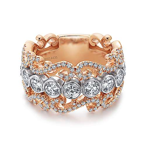 Gabriel - 14k White/pink Gold Contemporary Fancy Anniversary Band
