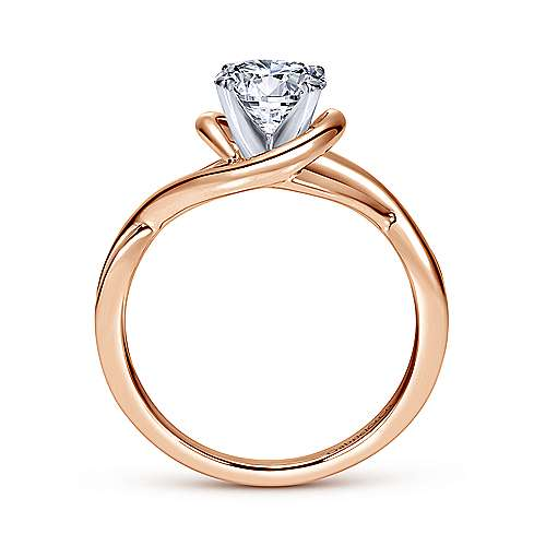 14k White/pink Gold Criss Cross Engagement Ring angle 2
