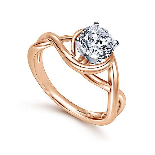 14k White/pink Gold Criss Cross Engagement Ring angle 3