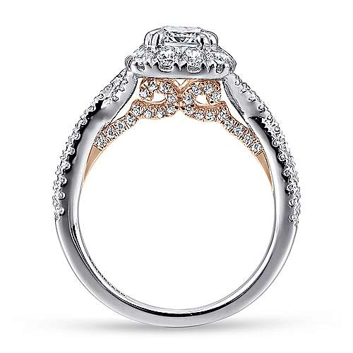 14k White/pink Gold Cushion Cut Halo Engagement Ring angle 2