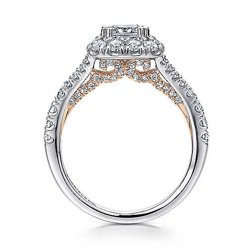 14k White/pink Gold Cushion Cut Halo Engagement Ring angle 2