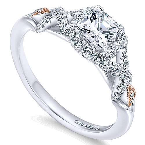 14k White/pink Gold Cushion Cut Halo Engagement Ring angle 3