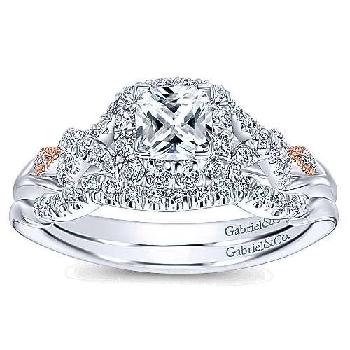 14k White/pink Gold Cushion Cut Halo Engagement Ring angle 4