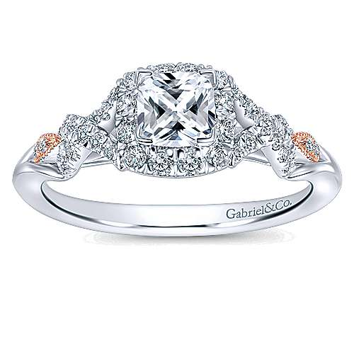 14k White/pink Gold Cushion Cut Halo Engagement Ring angle 5
