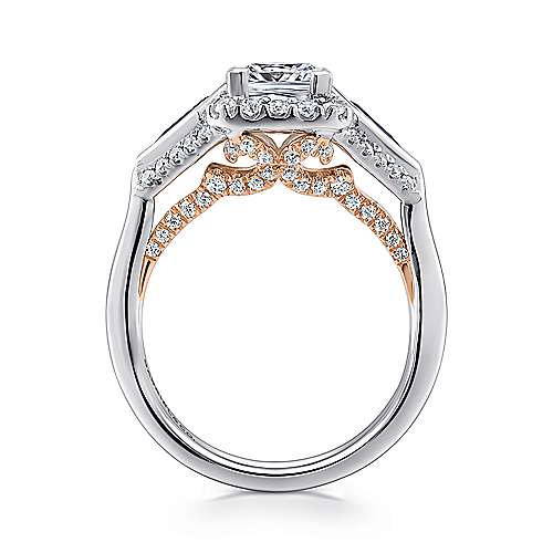 14k White/pink Gold Diamond  And Sapphire 3 Stones Halo Engagement Ring angle 2